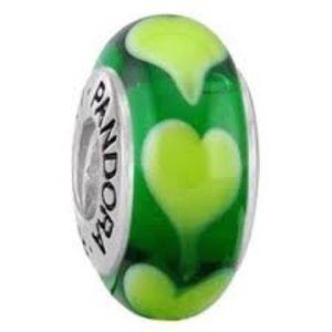 Authentic green hearts Pandora Murano glass bead